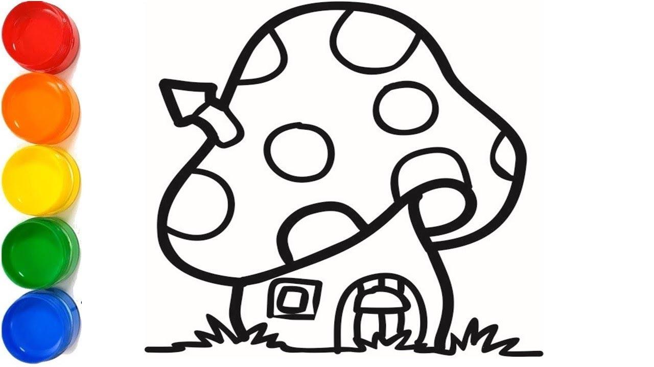 Belajar Menggambar Dan Mewarnai Rumah Jamur