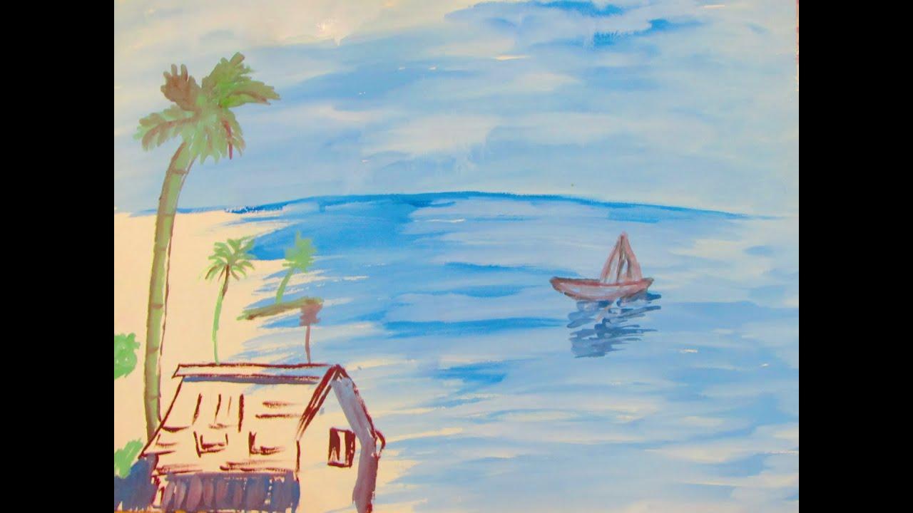 how to paint beach scene using acrylic painting art tutorial youtube