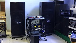 Demo bộ dàn hội trường cho trường học, loa đôi 40cm, main CA50 56 sò, vang cơ bosa, mixer 14 line