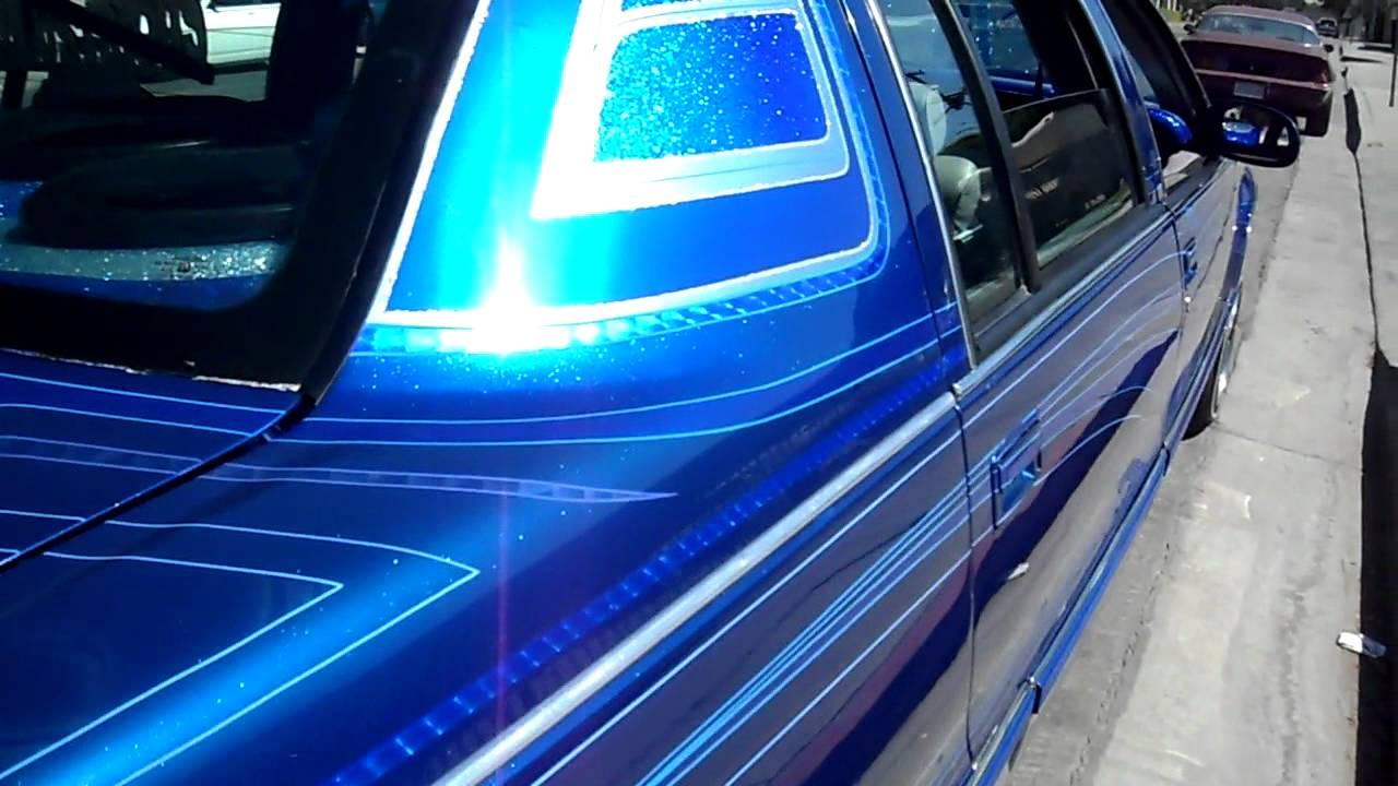 Curlys Pinstriping Blue Big Body Cadillac Lowrider Pattern