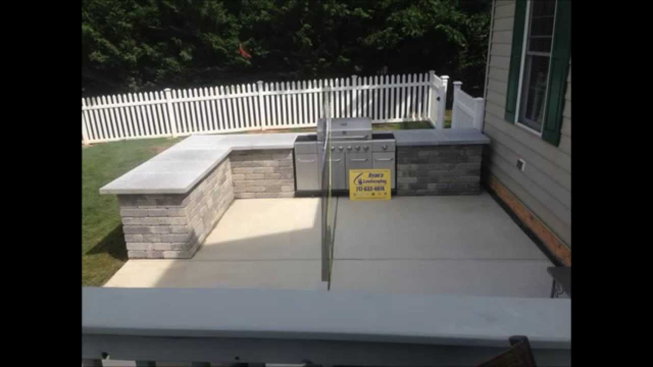 OUTDOOR KITCHEN, BUILT IN GRILL, U0026 BAR INSTALLATION   HANOVER, PA Area    RYANu0027S LANDSCAPING   YouTube