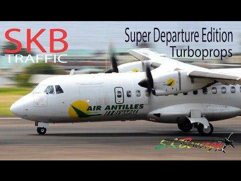 Super Turboprop Departures !!! Air Antilles ATR, LIAT ATR, VI Airlink B1900.. @ St. Kitts Airport