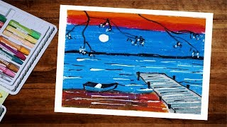 Landscape Moonlight Scenery Drawing With Oil Pastel Step By Step - Pastel Drawing For Beginners