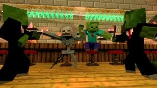 Minecraft Animation SkeleGUN & ZOMBIE walk into a BAR Part 2