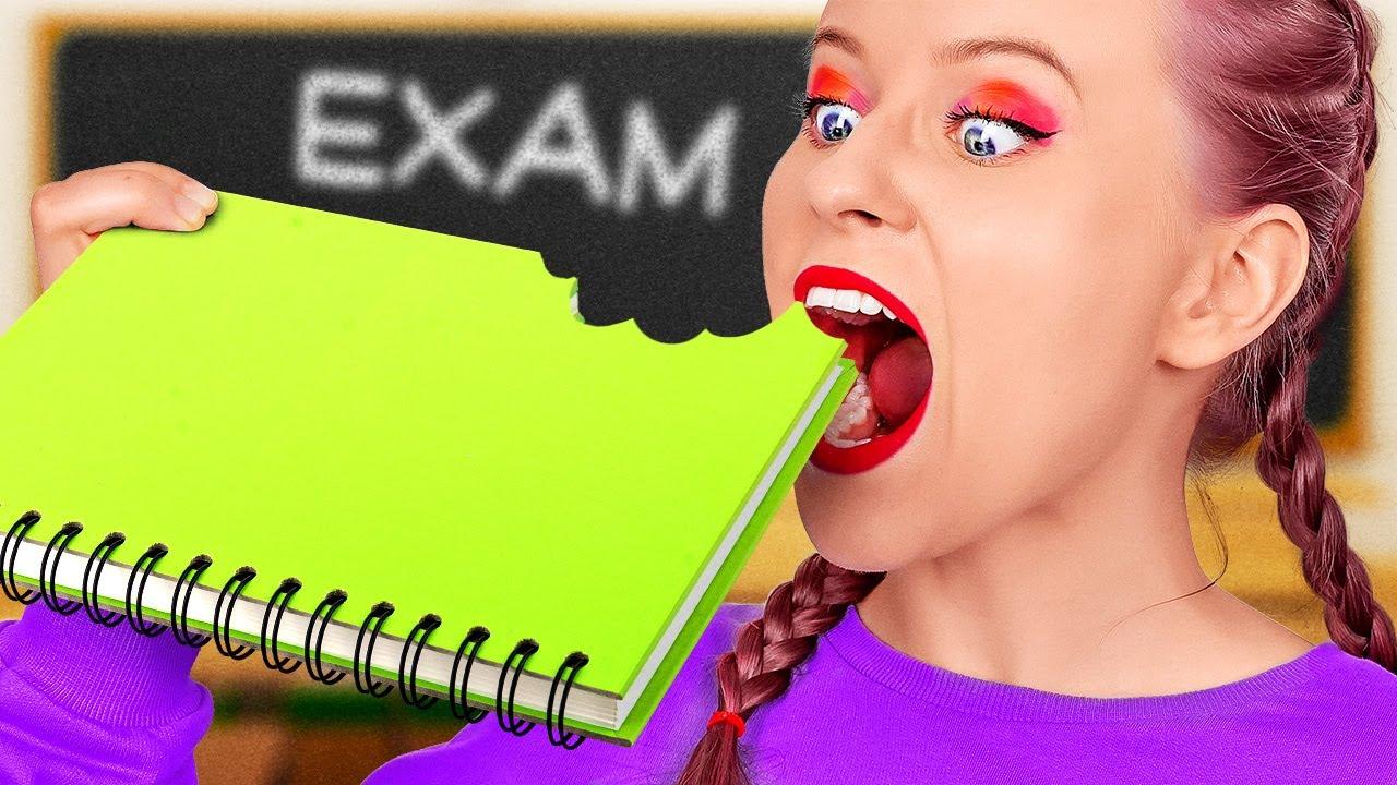 FUN SNEAK FOOD INTO CLASS AND DIY SCHOOL SUPPLIES! Back to School Life Hacks by 123 GO! SCHOOL