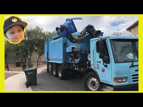 Roman Helps The Recycle Truck Driver | Garbage Truck Video For Children