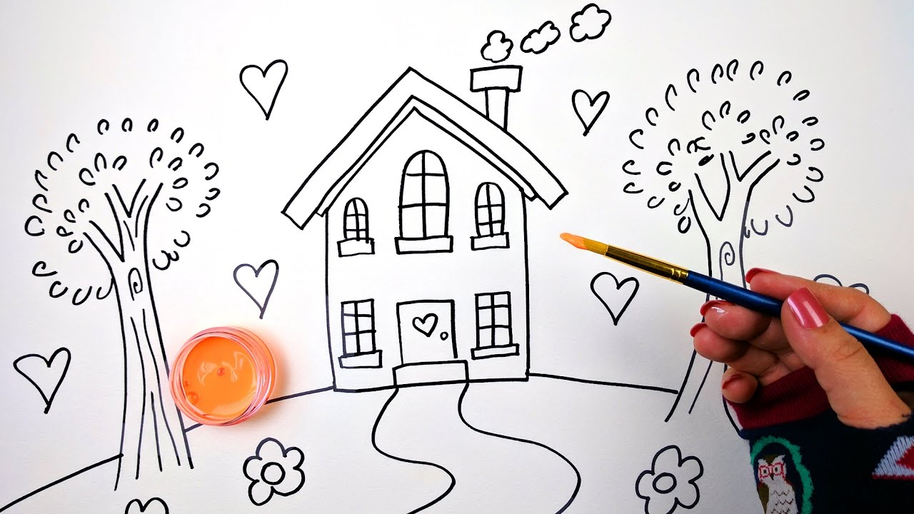 Princess house coloring pages - Drawing And Coloring For Kids Heart House Coloring Page