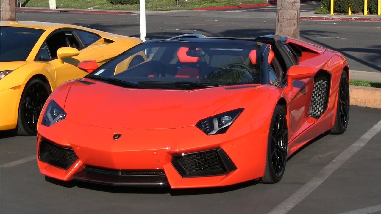 supercar accelerations leaving lamborghini newport beach