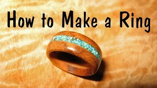 Make a wooden Ring with Turquoise Inlay // How To