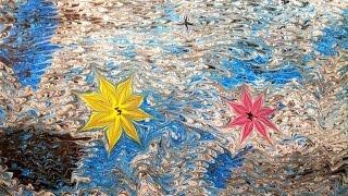 ЭБРУ - рисование на воде.  ЦВЕТОЧКИ(Необычный способ рисования - ЭБРУ - рисование на воде. В этом видео рисуем цветочки. Рисунок с поверхности..., 2015-11-19T20:11:53.000Z)