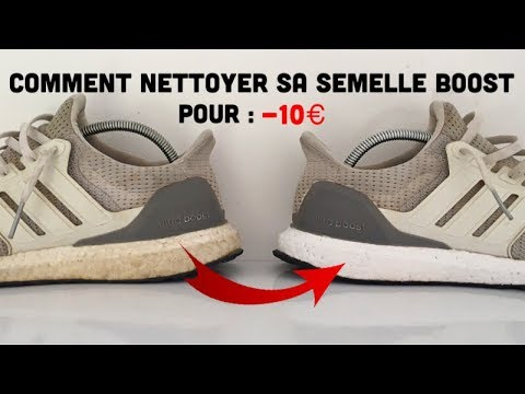 Comment nettoyer sa semelle boost pour moins de 10 € / How to remove yellow  boost [FR].