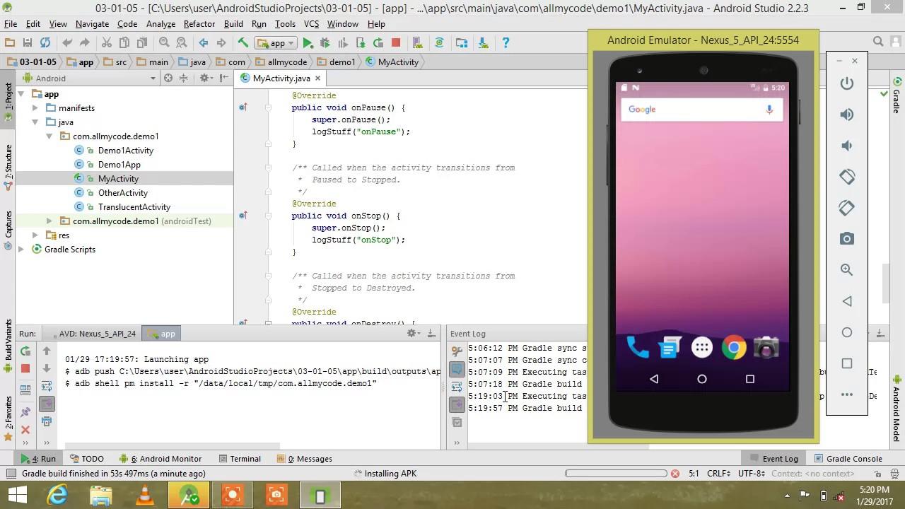 run android app on emulator android studio