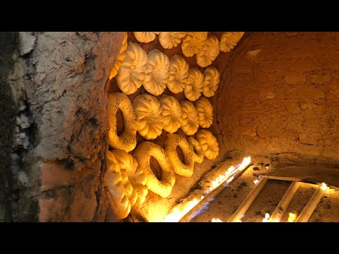 Вкуснее самсы!! Узбекская лепешка с мясом в тандыре.Мясное кольцо.Узбекистан.