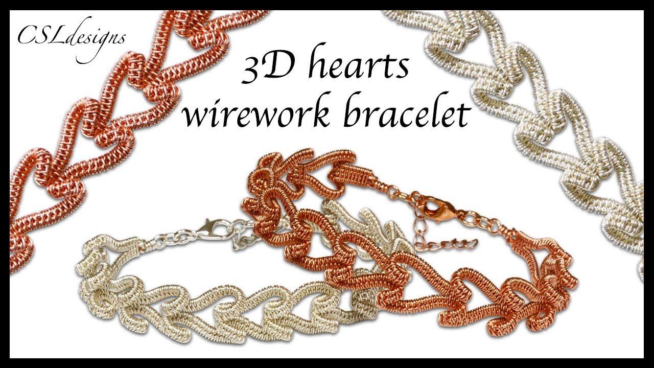 035891b32f3ef 3D hearts wirework bracelet ⎮ Valentine's Day