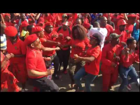EFF Members dancing and singing on Church Square