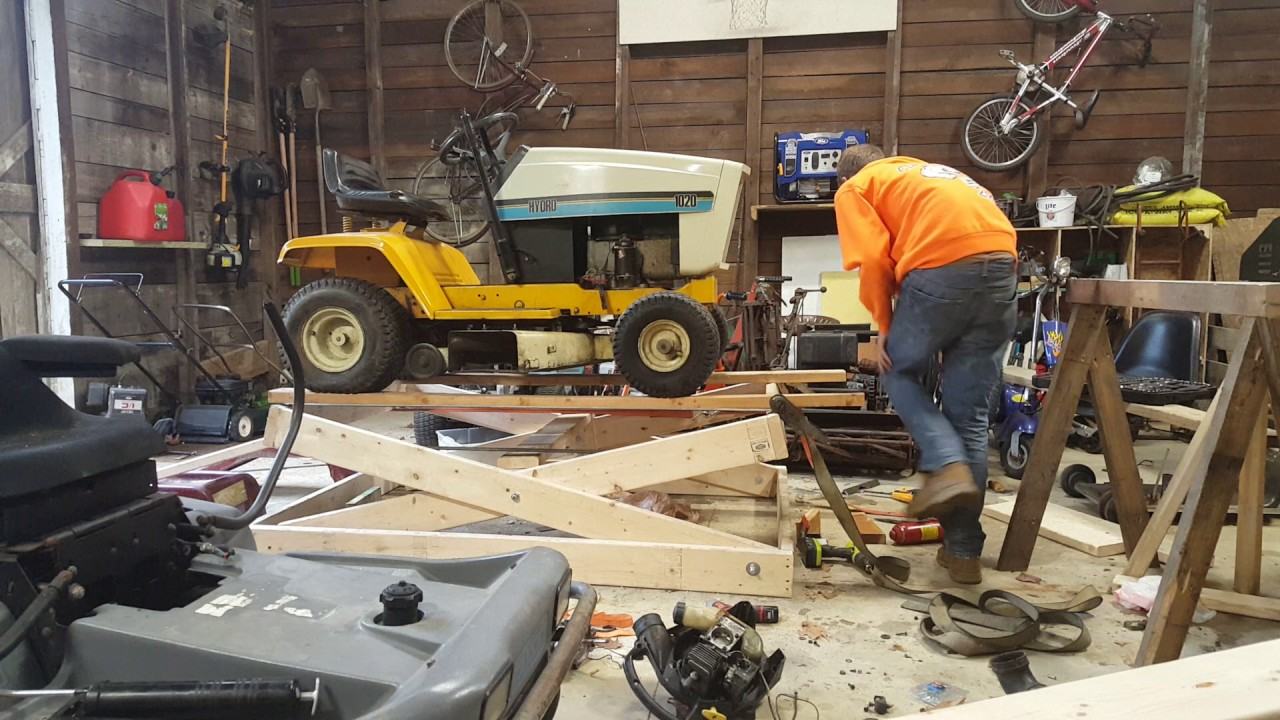 Homemade Wood Scissor Lift For Mower Atv Youtube