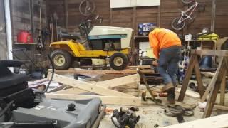 Homemade Wood scissor lift for mower, atv