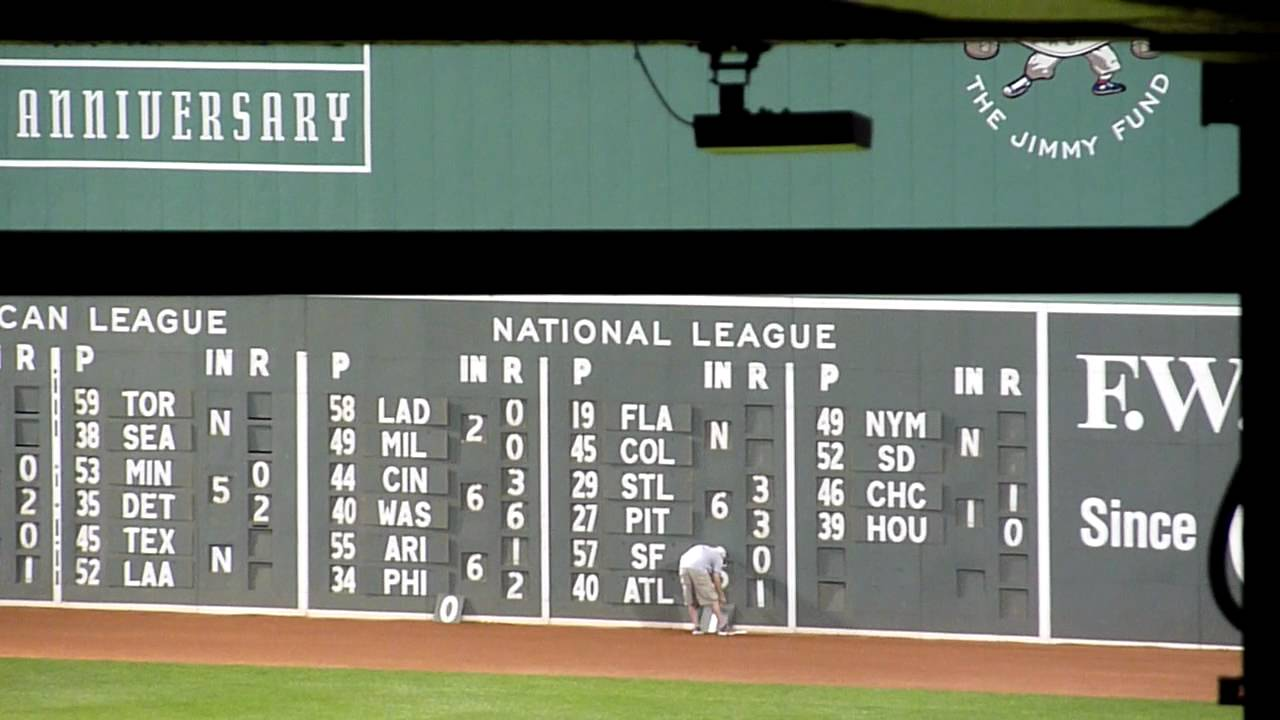 fenway park  old fashioned scoreboard