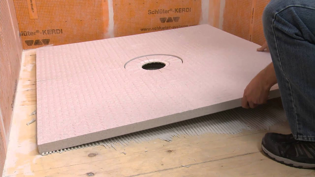 extending a schluter kerdi shower tray with dry pack mortar youtube. Black Bedroom Furniture Sets. Home Design Ideas