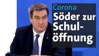 Ministerpräsident söder sprach sich dafür aus, in der corona-krise weiterhin vorsichtig zu agieren. das gelte vor allem für die schulen. kitas und grundschul...