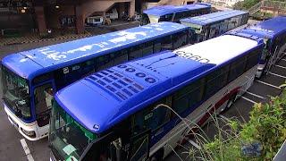 全車発進。バスでGO! Bus goes up a Ryokan slope 熊本 九州産交 大型観光バス 動画