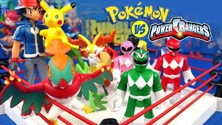 Pokémon vs Power Rangers Toys Shake Rumble Wrestling Match // RUMBLE LEAGUE by KIDCITY