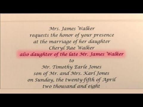 How to write wedding invitations in honor of deceased parent youtube how to write wedding invitations in honor of deceased parent stopboris Gallery