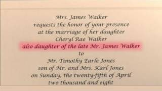 How To Write Wedding Invitations In Honor Of Deceased Parent