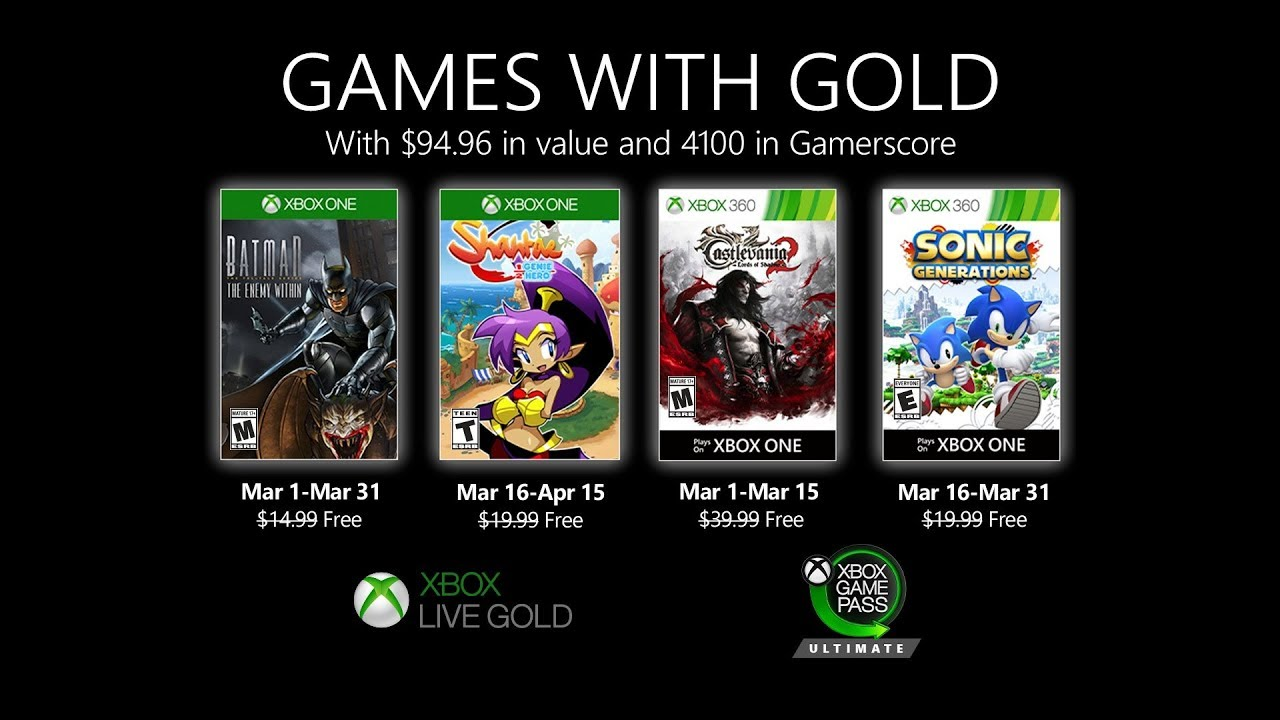 Xbox Games with Gold | Official March 2020 Overview
