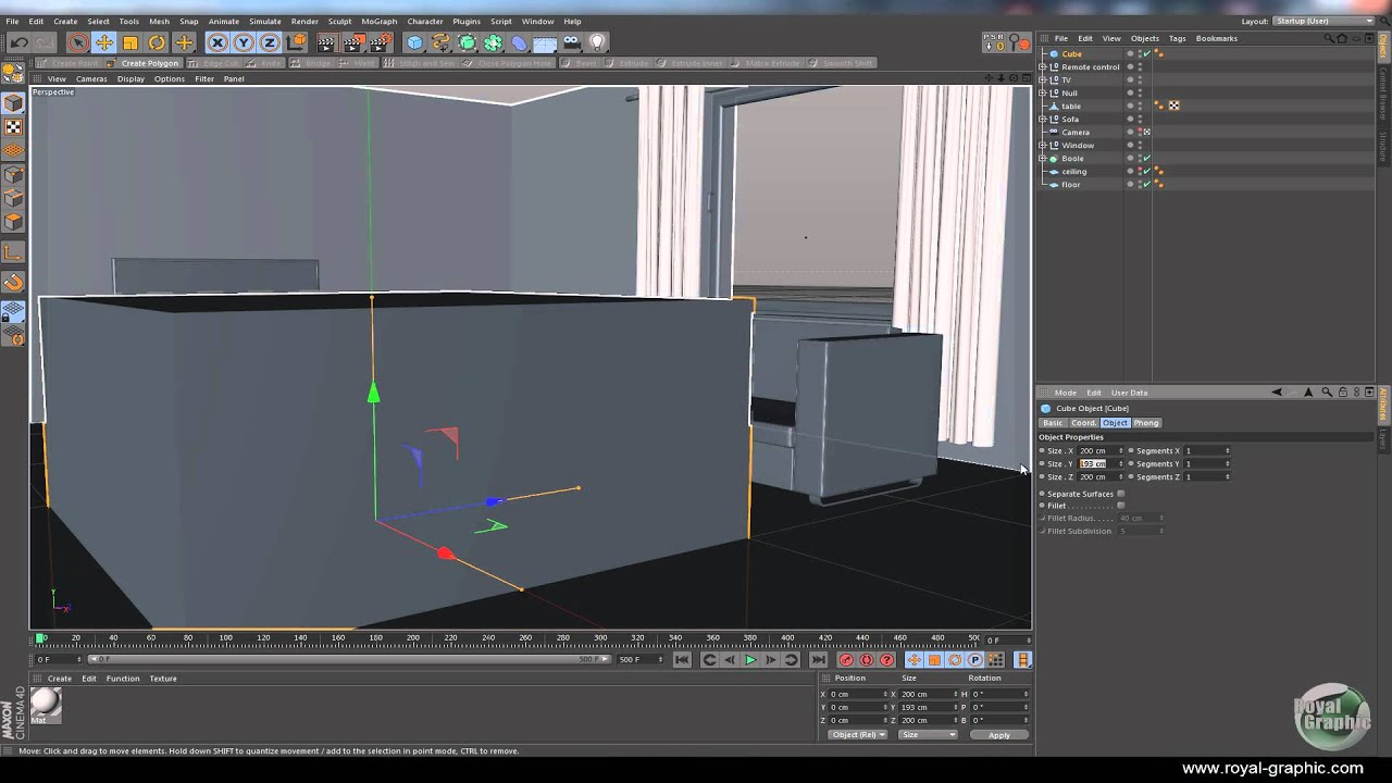 Cinema 4d building a living room part 4 youtube for Living room cinema 4d