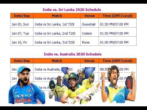 Australia & Sri Lanka Tour Of India Jan. 2020 Schedule & Time Table