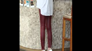 Thin leather leggins spandex feet pants.avi