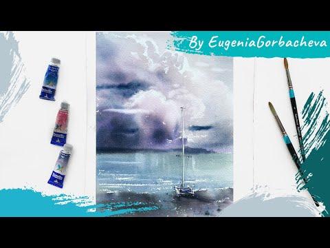 Как рисовать облака акварелью | Короткий урок | Акварельная картина
