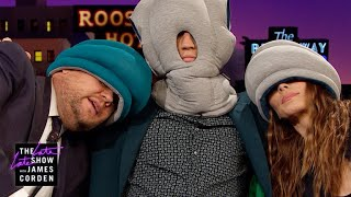 Miles Teller & Whitney Cummings Try Ostrich Pillows