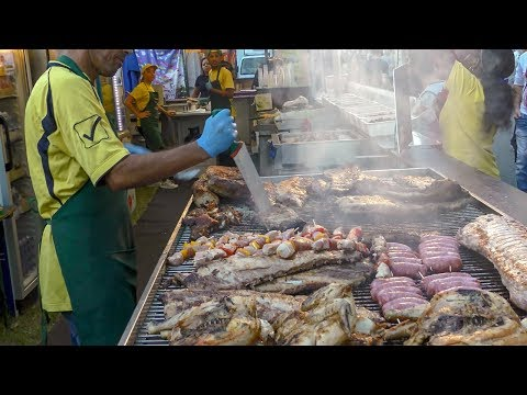 Brazil Street Food. Great BBQ with Ribs, Sausages, Skewers and More