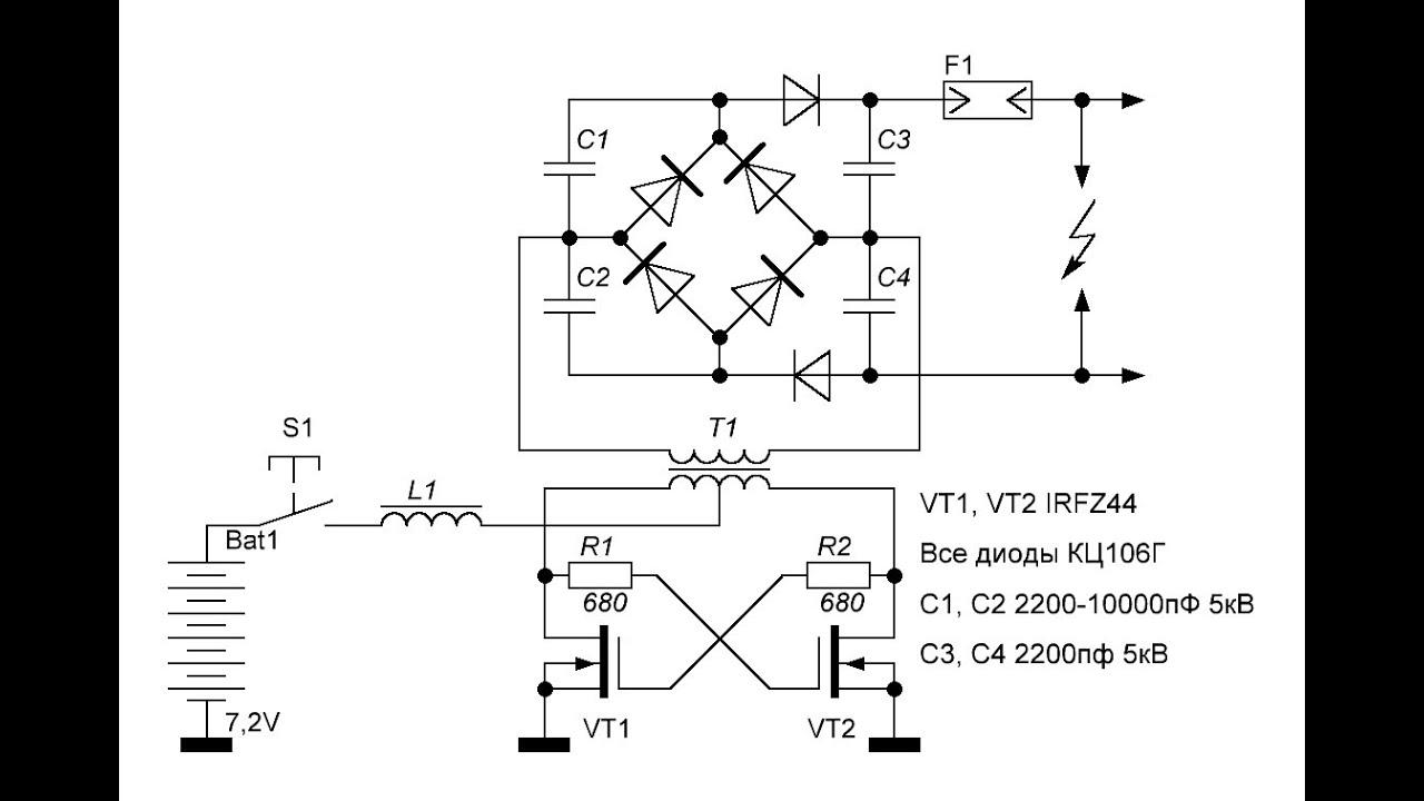 Инвертер для электрошокера на UC3845 - Схемы электрошокеров - Статьи к 72