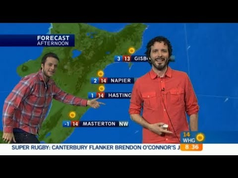 Bret McKenzie and Hamish Blake present the weather for NZTV