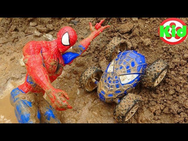 Người nhện đi tìm xe ô tô dưới đất #3 - đồ chơi trẻ em B1177P Kid Studio