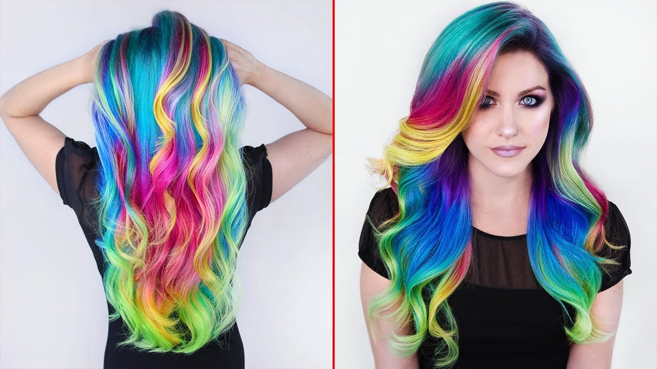 rainbow hair color transformations