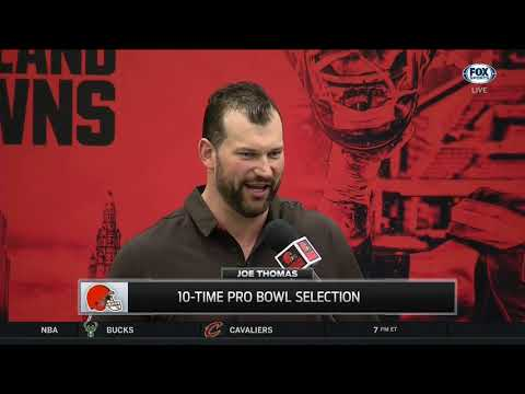 Joe Thomas' hilarious jokes about former Browns at retirement press conference