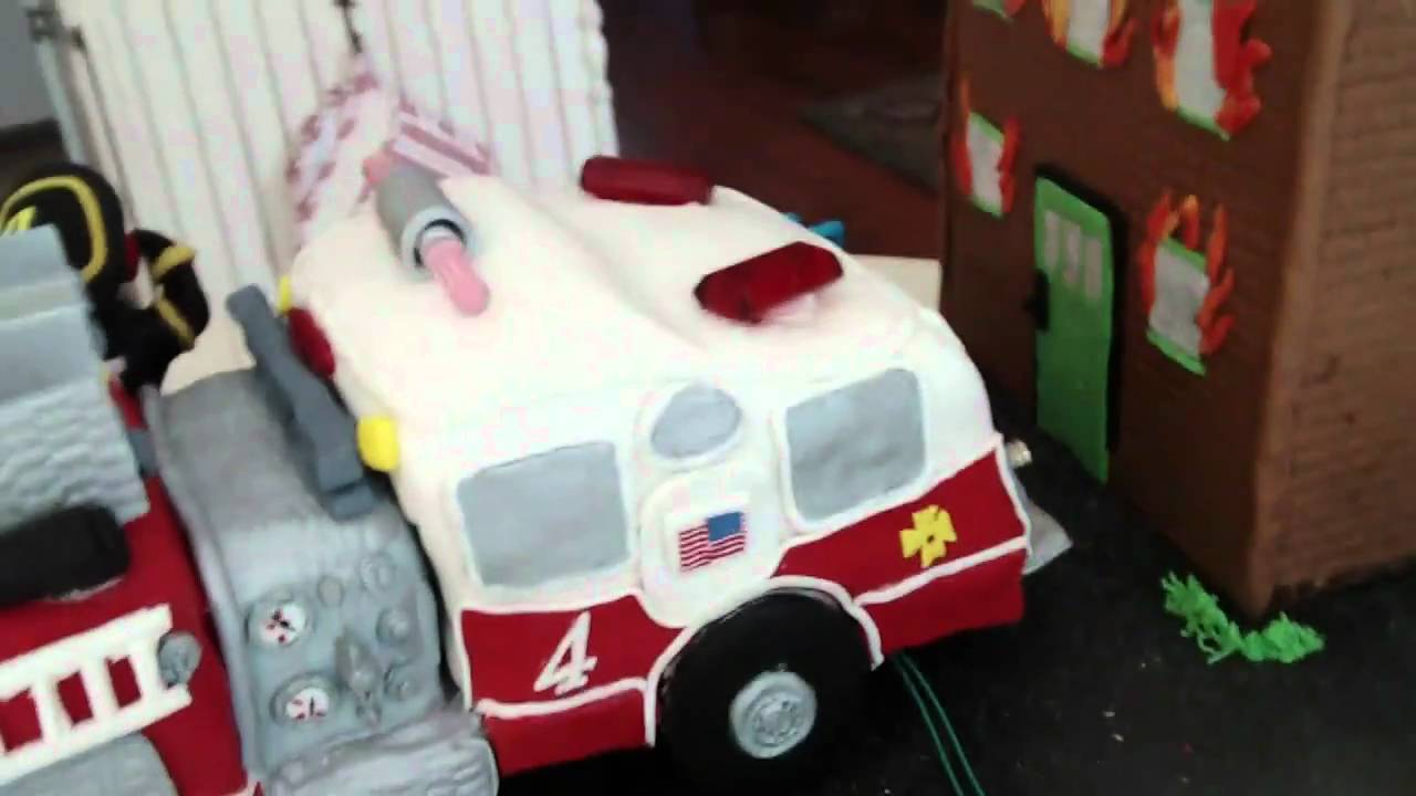 Fondant Fire Truck Birthday Cake YouTube
