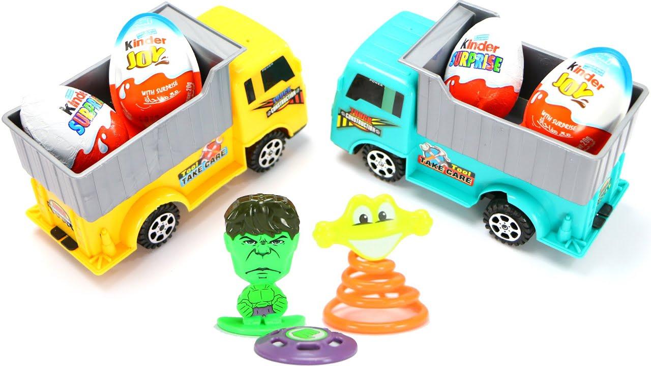 784da282a289 Surprise eggs Truck for kids - Hulk The Green Man Incredible Jumping ...