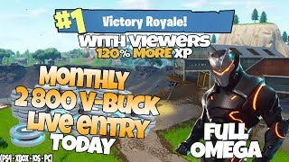[PC-XBOX] FORTNITE | 2800 V-BUCK GIVEAWAY *TODAY* | TIER 100 | LEVEL 80 | FULL OMEGA SKIN!!