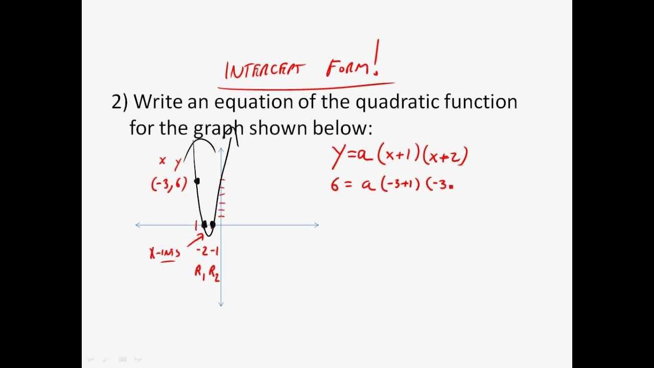 intercept form algebra  Algebra 6 - Writing the Intercept Form of a Quadratic Function