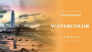 DIY How to PAINT SEA  LIGHTHOUSE Landscape Sunset. Video lesson painting/art Jarova WATERCOLOR ART