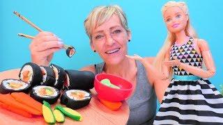 Barbie und Nicole machen Sushi - Spielzeugvideo für Kinder - Kneten mit PlayDoh