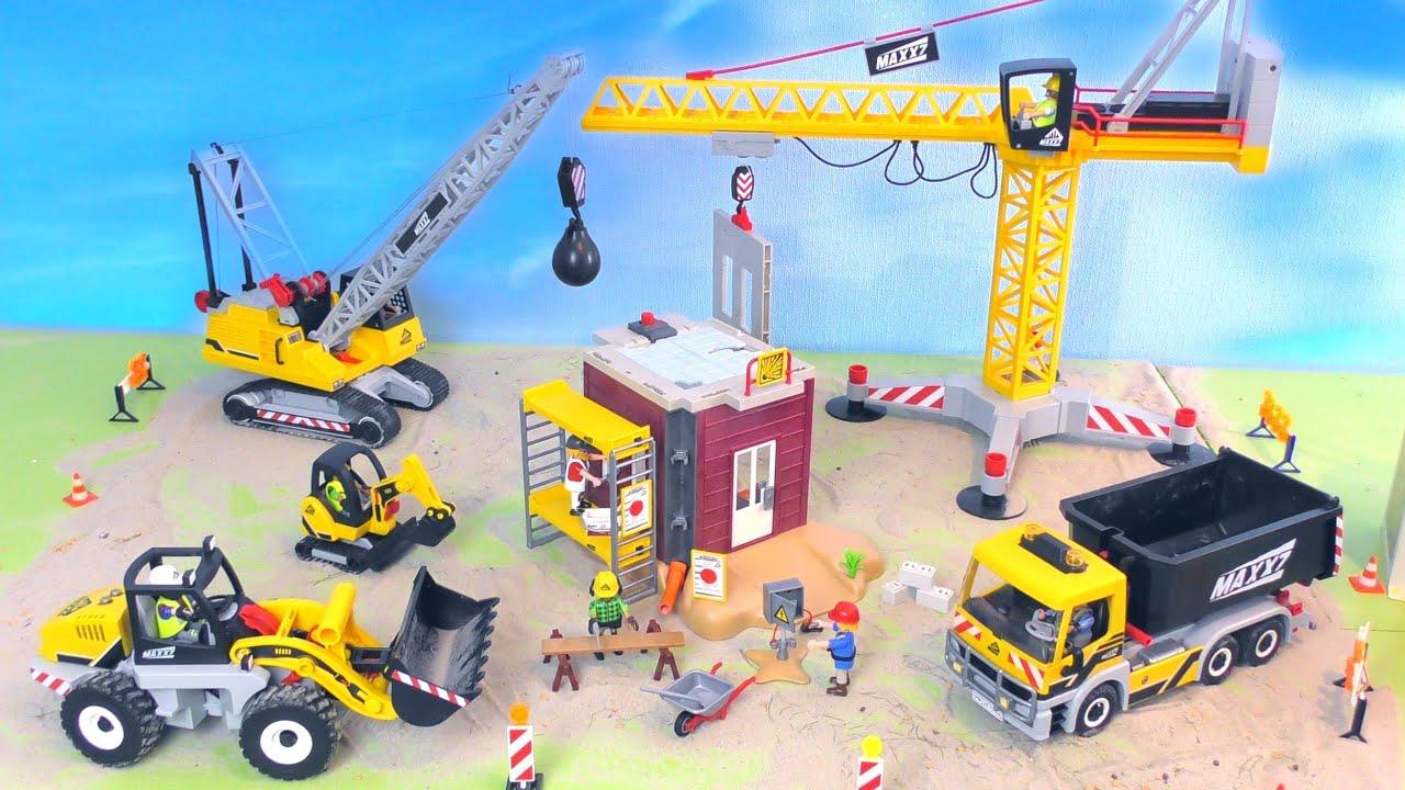 Bagger, Kran, Truck, Abrisskugel - Baustellenfahrzeuge / Baggerspielzeug - Vehicles for Kids