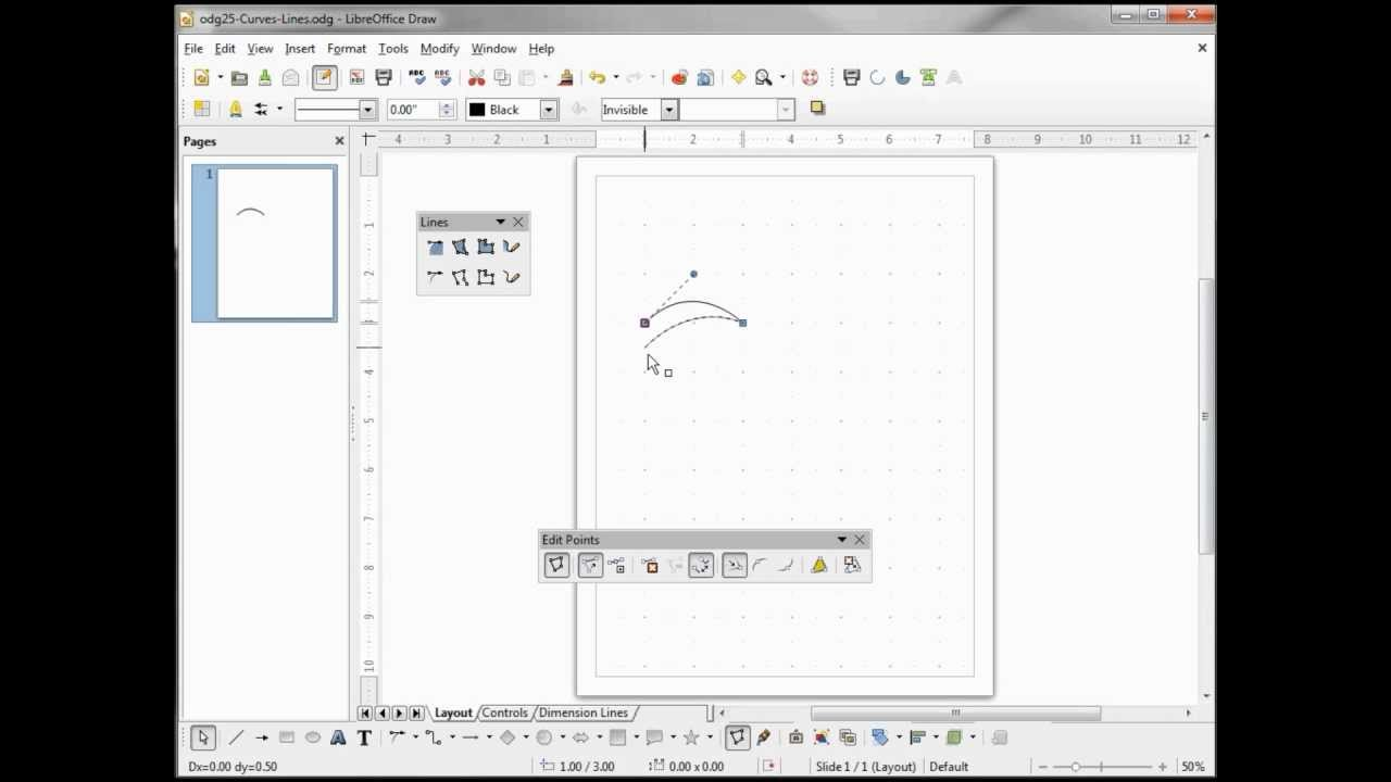 Libreoffice Draw 25 Curves Lines Youtube