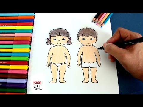 Cómo dibujar el cuerpo de un Niño y una Niña | How to draw the body ...