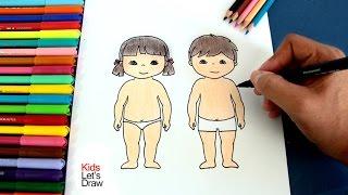 Cómo dibujar el cuerpo de un Niño y una Niña | How to draw the body of a boy and a girl